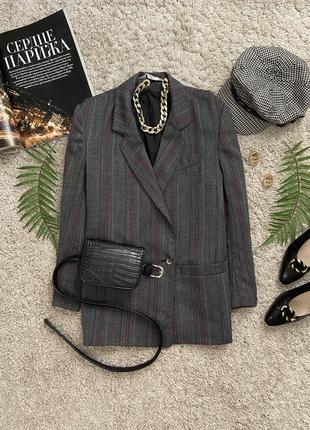 Распродажа!!! актуальный двубортный пиджак в клетку 45% шерсть №16