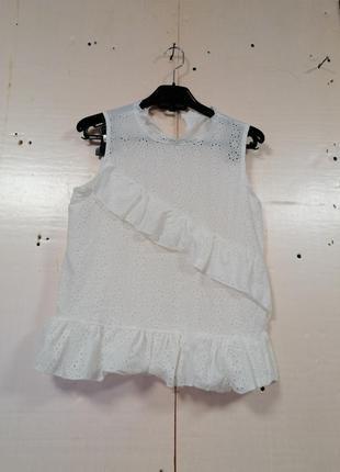 Летняя майка блуза прошва волан рюша натуральная  ткань хб