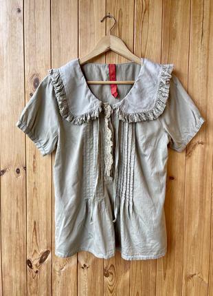 Ewa i wall блуза топ рубашка в стиле les ours бежевая над романтик