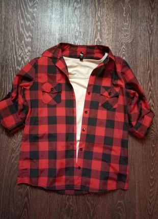 Красно черная рубашка в клетку