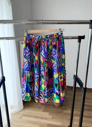 Винтажная юбка плиссе яркая абстракция