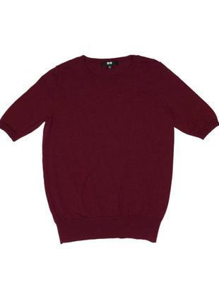 Uniqlo шерстяная бордовая футболка топ кофточка s