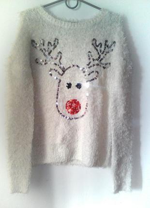 Пушистый (травка) новогодний свитер     размер: 34 / xs / 42