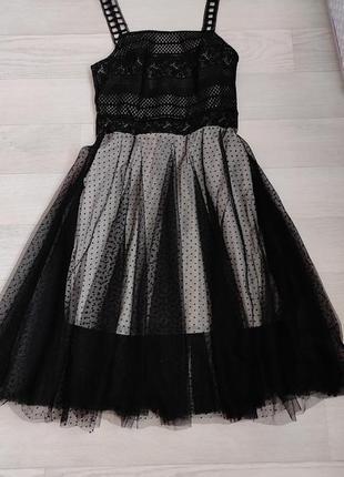 Платье, сарафан нарядный, сетка флок