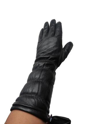 Женские удлинённые кожаные перчатки черные