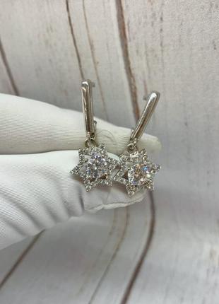 Серьги серебро 925 классические сережки на английском замке звезды, звездочки, звезда давида