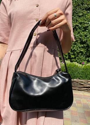 Стильна  жіноча чорна сумка з ручками на плече