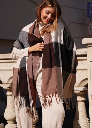 Кашеміровий шарф в клітку шоколадний / білий