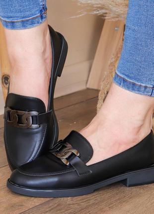 Мокасины туфли чёрные лоферы