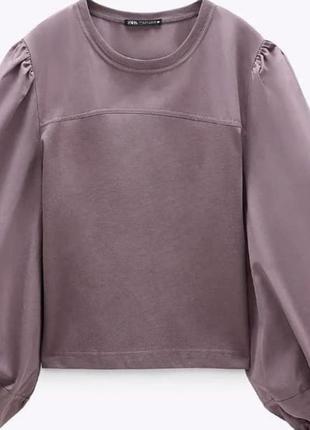 Хлопковая блуза с объемными рукавами zara