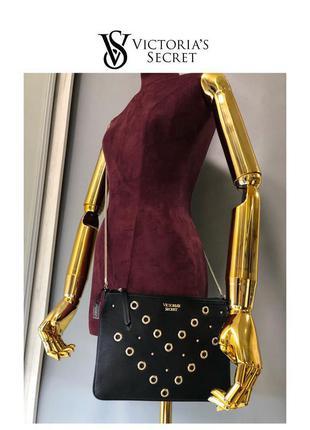 Оригинал victoria's secret маленькая сумочка клатч конверт на золотой цепочке с люверсами и заклёпка