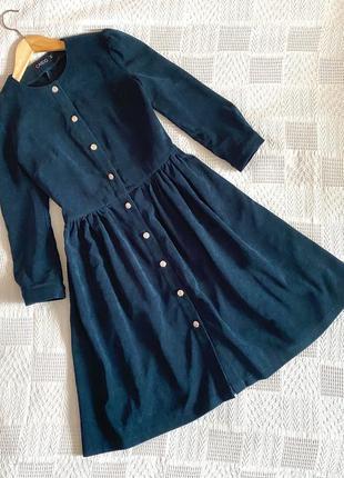 Платье вельветовое изумрудное на пуговицах s-m