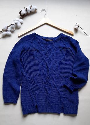 Синий свитер кофта джемпер шерсть в составе