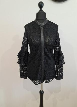 Черная кружевная блуза рубашка zara