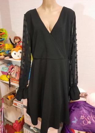 Нарядное платье-туника с шифоновыми рукавами, пог-57