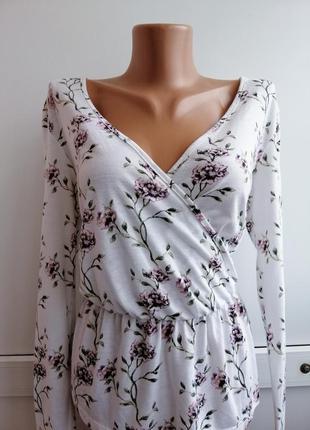 Блуза женская белая цветочный принт