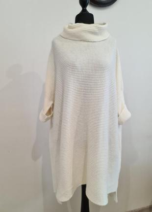 Белый длинный свитер оверсайз liu jo
