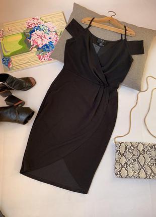 Платье чёрное вечернее ax paris по фигуре назапах миди открытые плечи