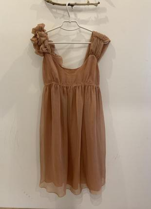 Платье fornarina персик- беж, шифон xs-s