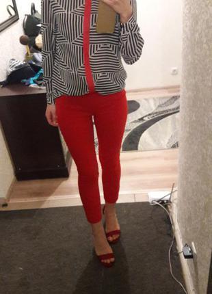 Красные брюки скини с плотной ткани