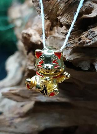 Шарм пандора серебро 925 проба желтое золото пломба бирка новый котенок желтый с красным кот иероглифы