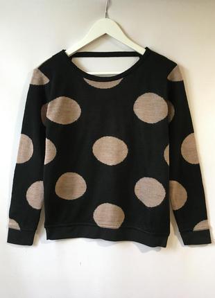 Эффектный красивый шерстяной свитер кофта джемпер с шерстью крупный горох с открытой спинкой италия