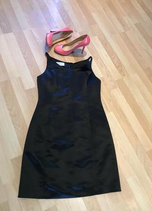 S&s коктейльное черное платье по фигуре, без рукавов, атлас usa