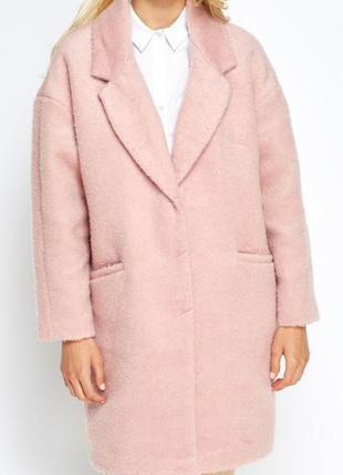 Пальто бойфренд оверсайз нюдовый розовый цвет