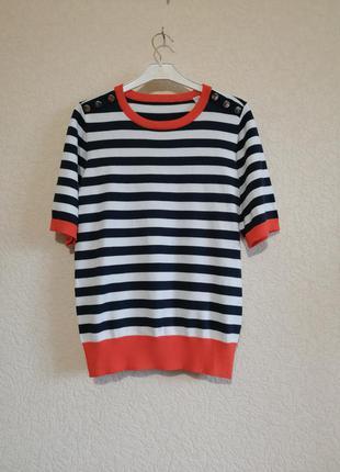 Вискозная блуза в контрастную полоску и декором пуговицы, германия.