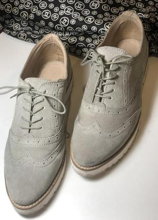 Замшевые броги, броги из натуральной замши, ботинки, замшевые туфли, серые броги pier one
