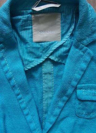 Пиджак льненой,бирюзовый.