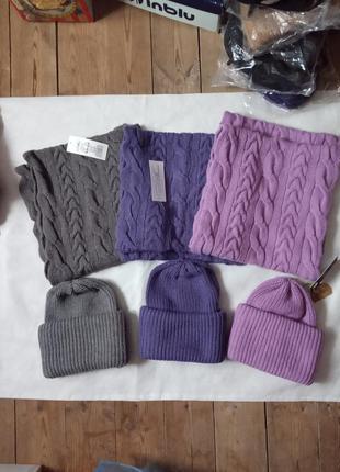 Комплект шапка+снуд, шерсть мериноса+альпака+пан