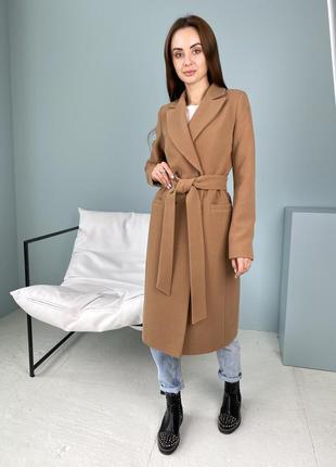 Брендовое демисезонное женское двубортное пальто, д 602 кашемир турция кэмел