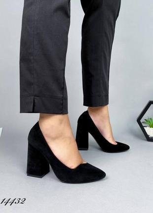 Замшевые ультрамодные туфли удобный каблук