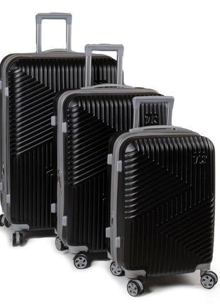 Комплект из трех пластиковых чемоданов  арт.802.