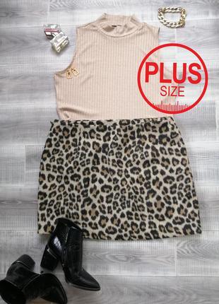 Теплая плюшевая мини юбка леопард спідниця міні