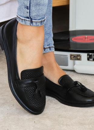 Лоферы мокасины туфли чёрные