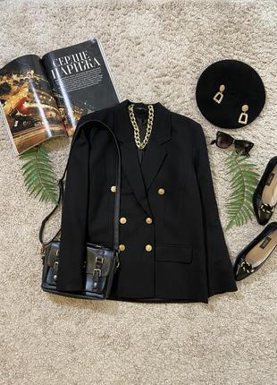 Винтажный удлиненный двубортный пиджак жакет блейзер №7