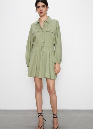 Платье мини зеленое на кулиске завязке с длинными рукавами карманами zara