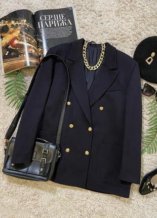 Актуальный винтажный двубортный шерстяной пиджак жакет блейзер №8