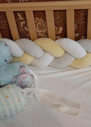 Бортики косичка + 2 подушки. цена за набор