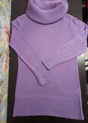 Лавандовый удлинённый свитер туника