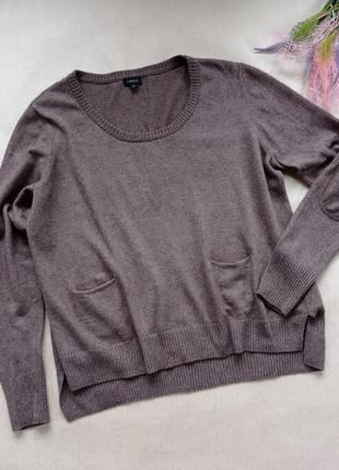 Мягкий свитер оверсайз с карманами и налокотниками