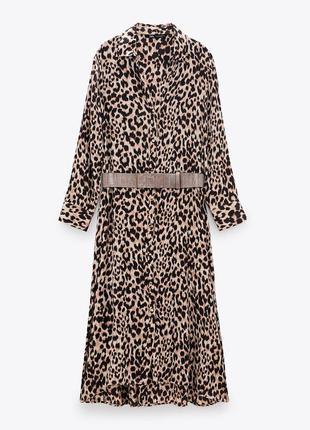 Платье миди коричневое в анималистичный принт на пуговицах zara