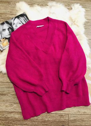 Свитер оверсайз с объёмными рукавами фуксия малиновый розовый next