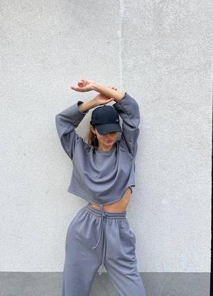 Спортивный осенний трикотажный женский костюм свитшот и брюки