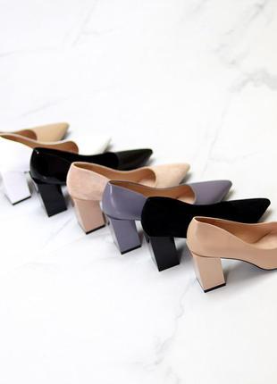 Туфли лодочки на устойчивом каблуке
