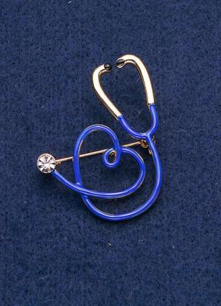 Брошь синий стетоскоп