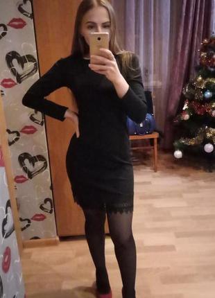 Классическое черное платье с кружевом хс-с/на вечеринку в стиле мафия