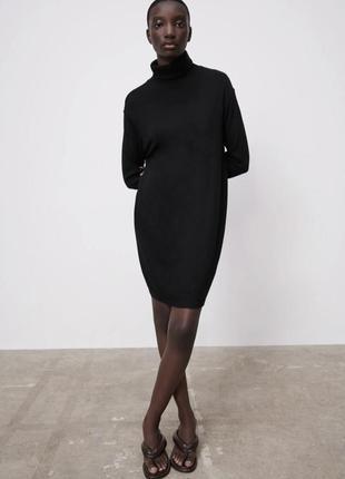 Черное мягкое теплое платье водолазка зара